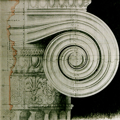 Full size working drawing of Ionic Capital. Drawn by Francis Terry. Exhibited at the RA, 2004.