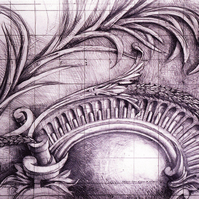 Full size working drawing of cartouche for Hanover Lodge. Exhibited at the RA, 2004. Drawn by Francis Terry. Pencil on paper.