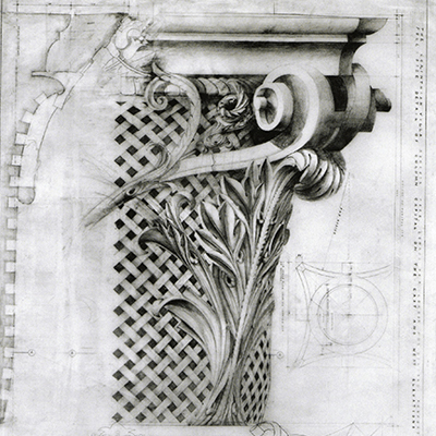 Corinthian capital. Drawn by Francis Terry, pencil on tracing paper. Exhibited at the RA in 2002.