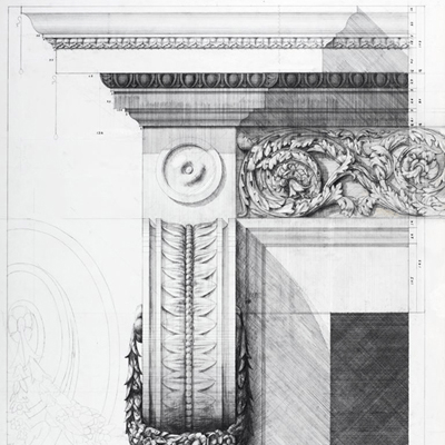 Fireplace design for Hanover Lodge. Drawn by Francis Terry. Pencil on tracing paper. Exhibited at the RA in 2007.