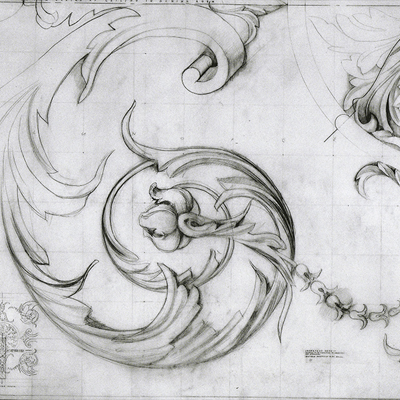 Full size detail of decoration for Kilboy. Drawn by Francis Terry, pencil on paper. Exhibited at the RA in 2002.