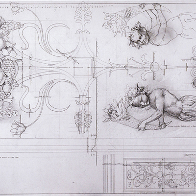 Plaster work decoration with figures. Drawn by Francis Terry. Pencil on tracing paper. Exhibited at the RA in 2006.