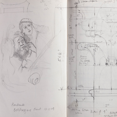 Measured details of Corinthian capitals at St. Paul's cathedral and Belshazzar's Feast. Drawn by Francis Terry. Pencil on paper, 2009.