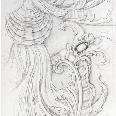 Full size ceiling decoration for Kilboy. Drawn by Francis Terry. Pencil on paper, 2010.