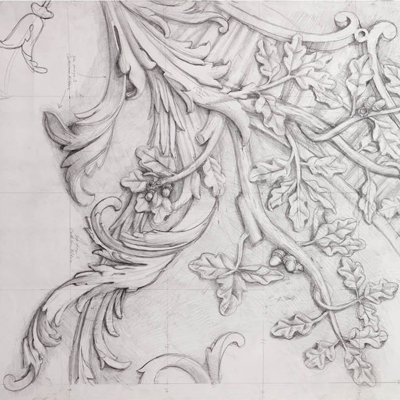 Full size ceiling decoration for Kilboy. Drawn by Francis Terry, pencil on paper. Exhibited at the RA 2014.
