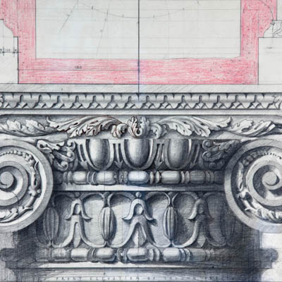 Full size working drawing of ionic capital for Hanover Lodge. Drawn by Francis Terry. Pencil on paper, 2006.