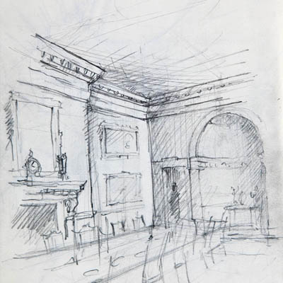 Design development sketch of Dining Room at Kilboy by Francis Terry. Pencil on paper, 2008.