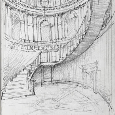 Design development sketch of Inner Hall at Kilboy by Francis Terry. Pencil on tracing paper, 2009.