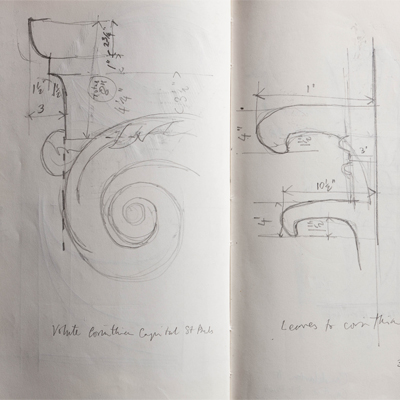 Measured drawings of capital details at St Pauls drawn by Francis Terry. Pencil on paper, 2009.