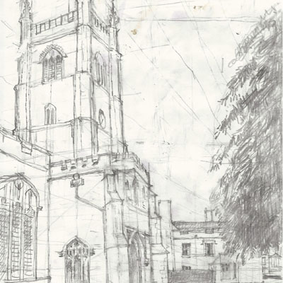 Dedham Church. Drawn by Francis Terry. Pencil on paper, 2015.