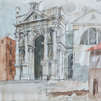 Santa Maria della Salute, watercolour by Francis Terry, 1987.