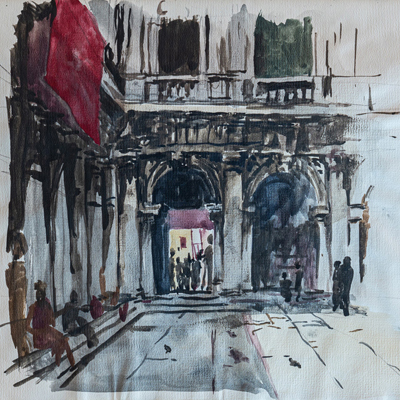 St Mark's Square, Venice, watercolour by Francis Terry, 1987.