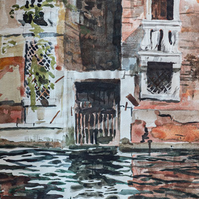 Canal detail, Venice, watercolour by Francis Terry, 1987.