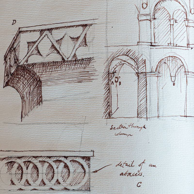 Gothic details, drawn by Francis Terry, pen and ink, 1988.