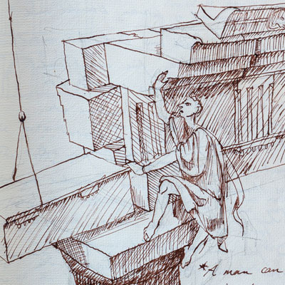 Lecture notes, drawn by Francis Terry, pen and ink, 1988.