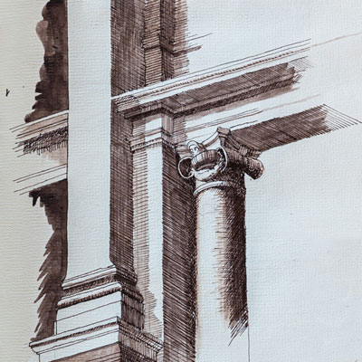 Pal. de Conservatori, drawn by Francis Terry, pen and ink, 1989.