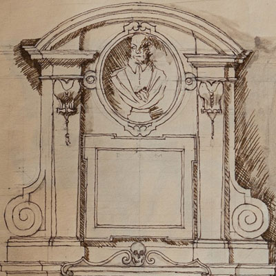 Tomb of Giovanni Vigevano, drawn by Francis Terry, pen and ink, 1991.