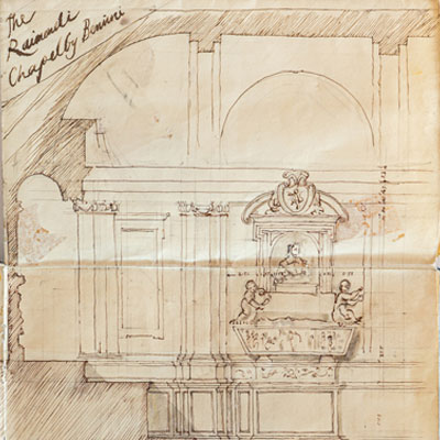The Raimondi Chapel, Rome, drawn by Francis Terry, pen and ink, 1991.