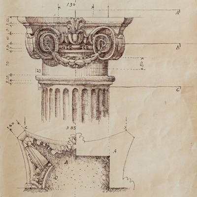 Capital for the Raimondi Chapel, Rome, drawn by Francis Terry, pen and ink, 1991.