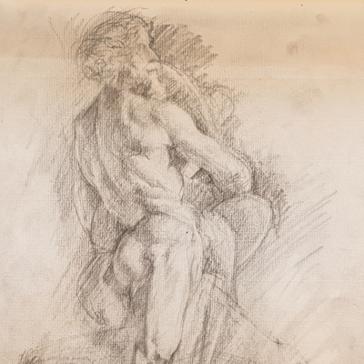 Bernini's Pluto, drawn by Francis Terry, pencil, 1993.