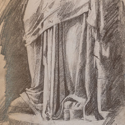 Hellenistic statue from the British Museum, drawn by Francis Terry, pencil, 1995.