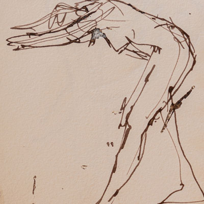 Life drawing, drawn by Francis Terry, pen and ink, 1999.
