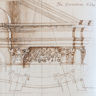 The Corinthian Villa façade, drawn by Francis Terry, pen and ink, 2004.