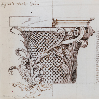 Corinthian Capital, drawn by Francis Terry, pen and ink, 2004.