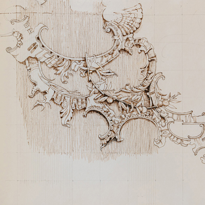 Rococo ceiling design, drawn by Francis Terry, pen and ink, 2004.