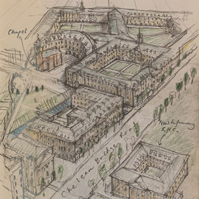 Chelsea Barracks proposal, drawn by Francis Terry, pencil, 2009.