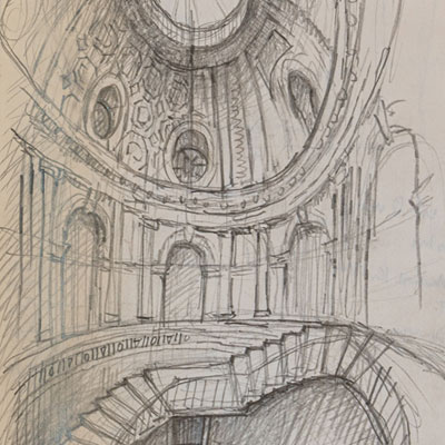 Staircase hall proposal, drawn by Francis Terry, pencil, 2009.