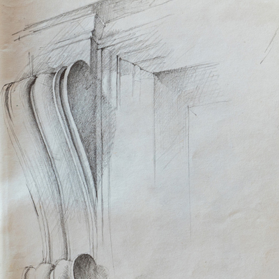 Medici Chapel detail, drawn by Francis Terry, pencil, 1990.