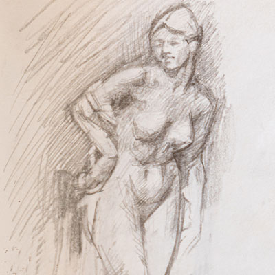 Female nude sculpture, V&A, drawn by Francis Terry, pencil, 2007.