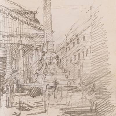 The Pantheon, Rome, drawn by Francis Terry, pencil, 2006.
