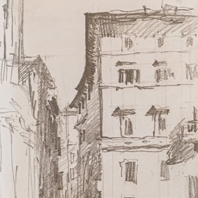 Back Street, Rome, drawn by Francis Terry, pencil, 2006.
