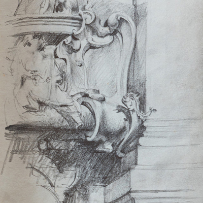 Cartouche, Prague, drawn by Francis Terry, pencil, 1992.