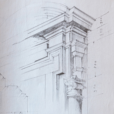 Door surround, Rome, drawn by Francis Terry, pencil, 1989.