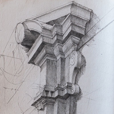 Porta Pia, Rome, drawn by Francis Terry, pencil, 1989.