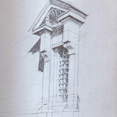 Window, Porta Pia, Rome, drawn by Francis Terry, pencil, 1989.