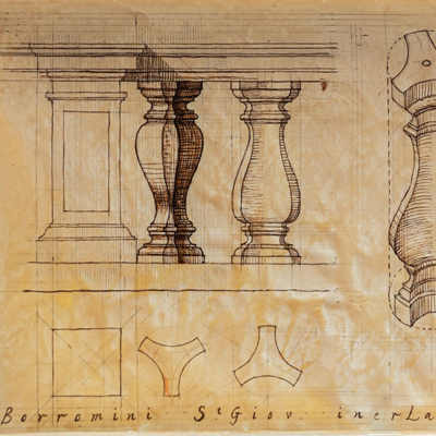 Baluster, di San Giovanni, Laterana, drawn by Francis Terry, pen and ink, 2004.