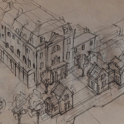 Scheme for Hampton Court Station, drawn by Francis Terry, pencil, 2008.