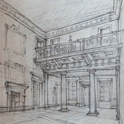 Old Garden Hall study, drawn by Francis Terry, pencil, 2007.