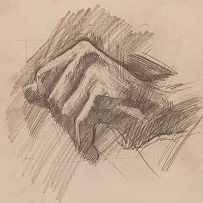 Hand study, drawn by Francis Terry, pencil, 2000.