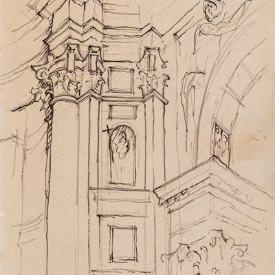 St Maria della Salute, drawn by Francis Terry, pen and ink, 2001.
