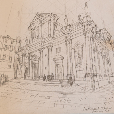Dubrovnik Cathedral, drawn by Francis Terry, pencil, 2005.