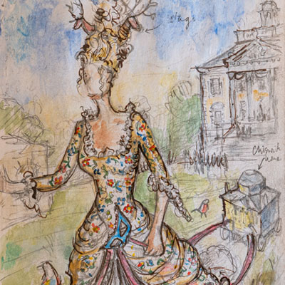 Costume design, watercolour by Francis Terry, 2013.