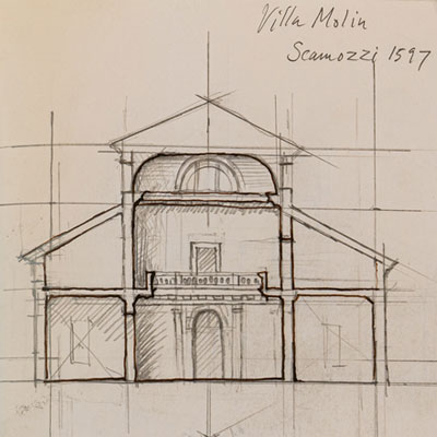 Study of Villa Molin, drawn by Francis Terry, pencil, 2009.