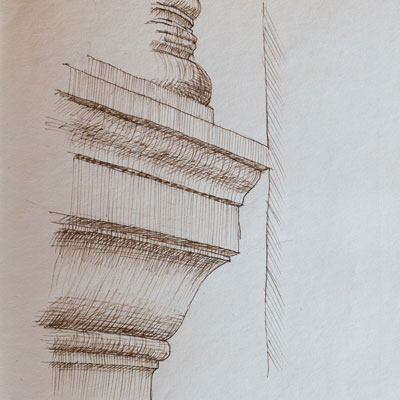 San Giorgio, Venice detail, drawn by Francis Terry, pen and ink, 1988.