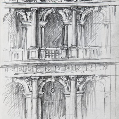 Biblioteca Marciana, Venice. Drawn by Francis Terry, pencil on paper, 2008.