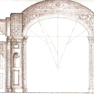Decorative Interior, drawn by Francis Terry, pen and ink, 2004.
